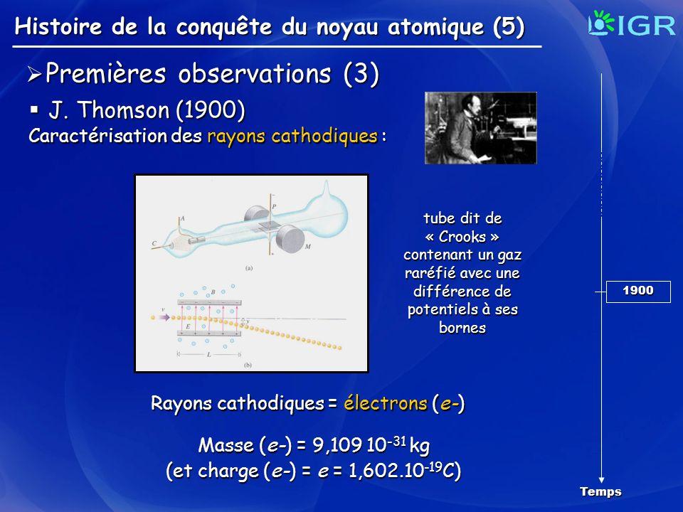 Histoire de la conquête du noyau atomique (5) Temps 1900 Premières observations (3) Premières observations (3) J. Thomson (1900) J. Thomson (1900) Car