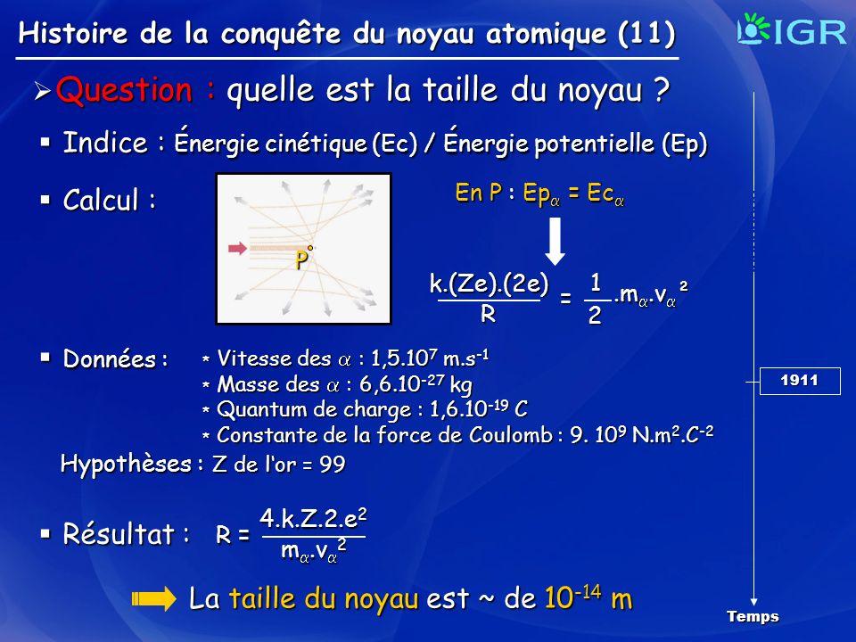 Question : quelle est la taille du noyau ? Question : quelle est la taille du noyau ? Histoire de la conquête du noyau atomique (11) Temps 1911 Donnée