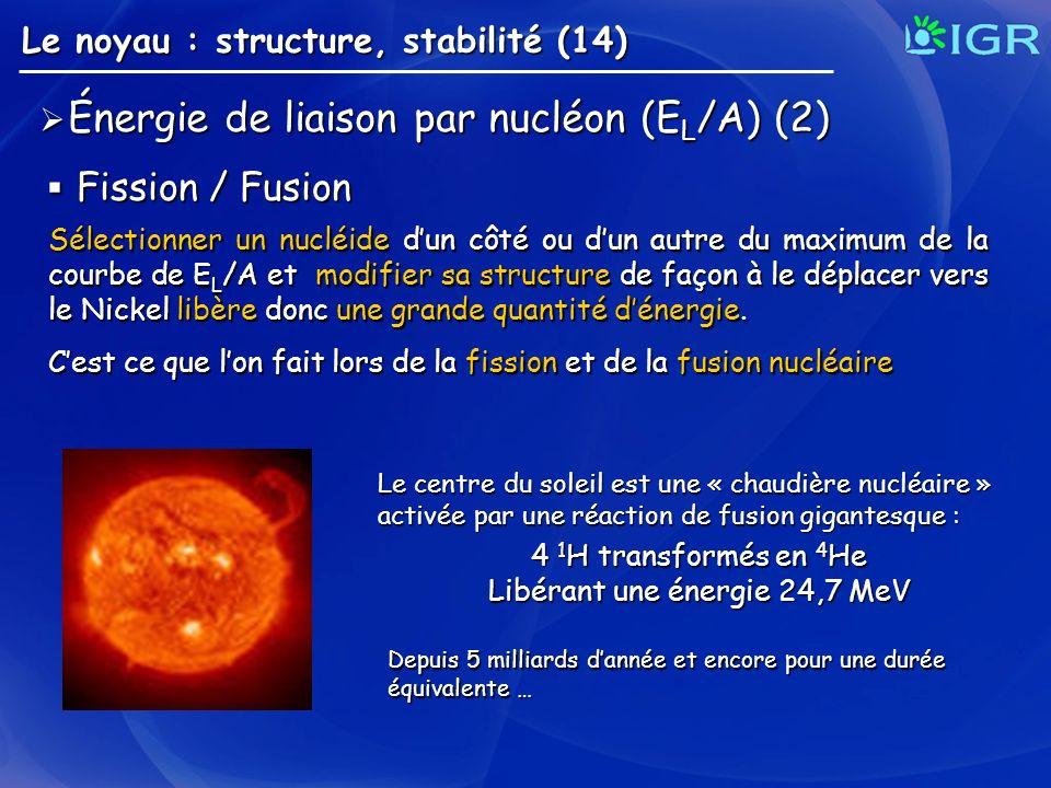 Énergie de liaison par nucléon (E L /A) (2) Énergie de liaison par nucléon (E L /A) (2) Le noyau : structure, stabilité (14) Fission / Fusion Fission