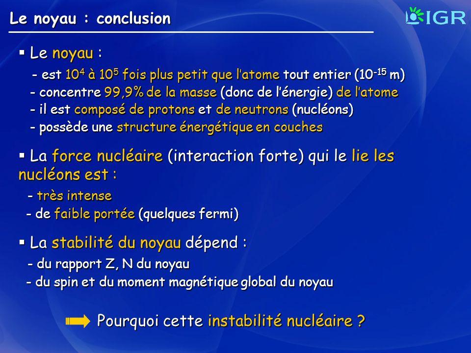 Le noyau : conclusion Le noyau : Le noyau : - est 10 4 à 10 5 fois plus petit que latome tout entier (10 -15 m) - est 10 4 à 10 5 fois plus petit que