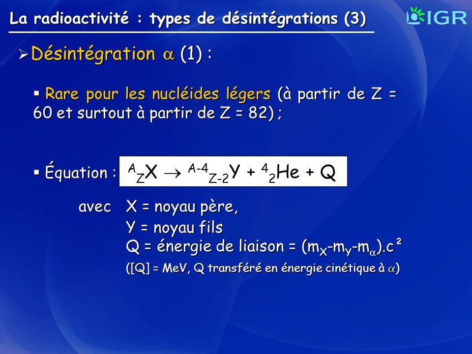 La radioactivité : types de désintégrations (3) Désintégration (1) : Désintégration (1) : Rare pour les nucléides légers (à partir de Z = 60 et surtou