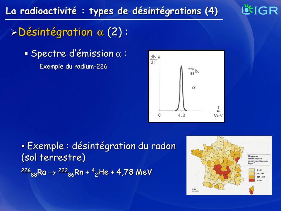 La radioactivité : types de désintégrations (4) Désintégration (2) : Désintégration (2) : Exemple : désintégration du radon Exemple : désintégration d