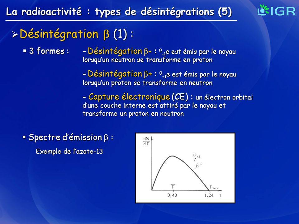 La radioactivité : types de désintégrations (5) Désintégration (1) : Désintégration (1) : 3 formes : - Désintégation - : 0 -1 e est émis par le noyau