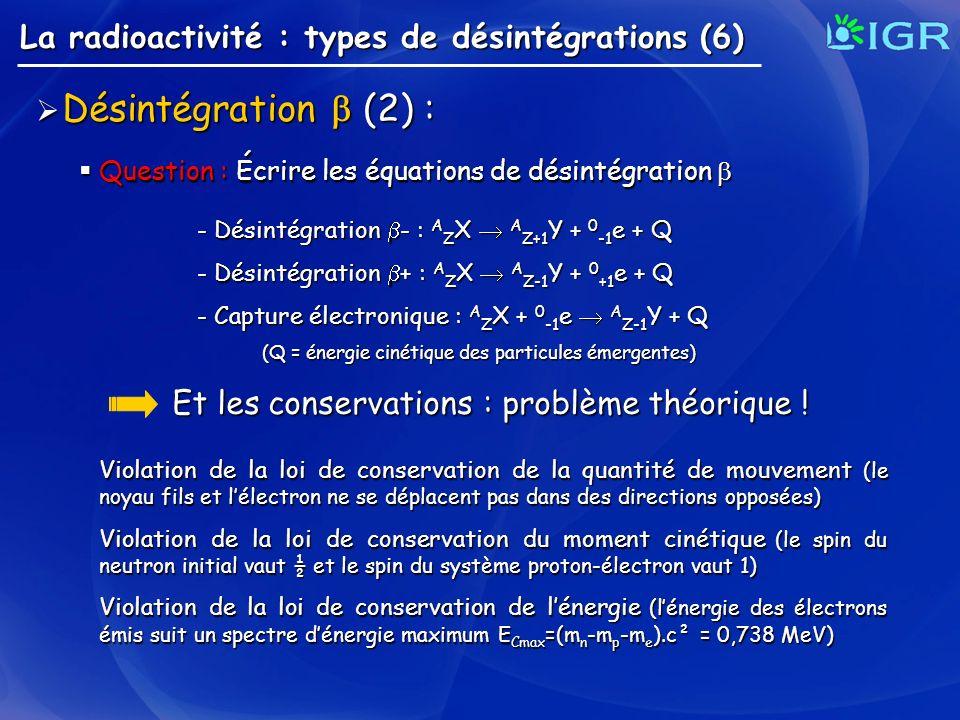 La radioactivité : types de désintégrations (6) Désintégration (2) : Désintégration (2) : Question : Écrire les équations de désintégration Question :