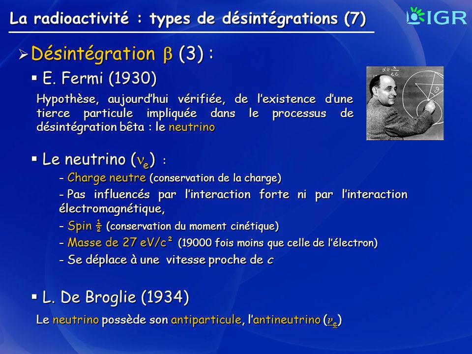 La radioactivité : types de désintégrations (7) Désintégration (3) : Désintégration (3) : E. Fermi (1930) E. Fermi (1930) Hypothèse, aujourdhui vérifi