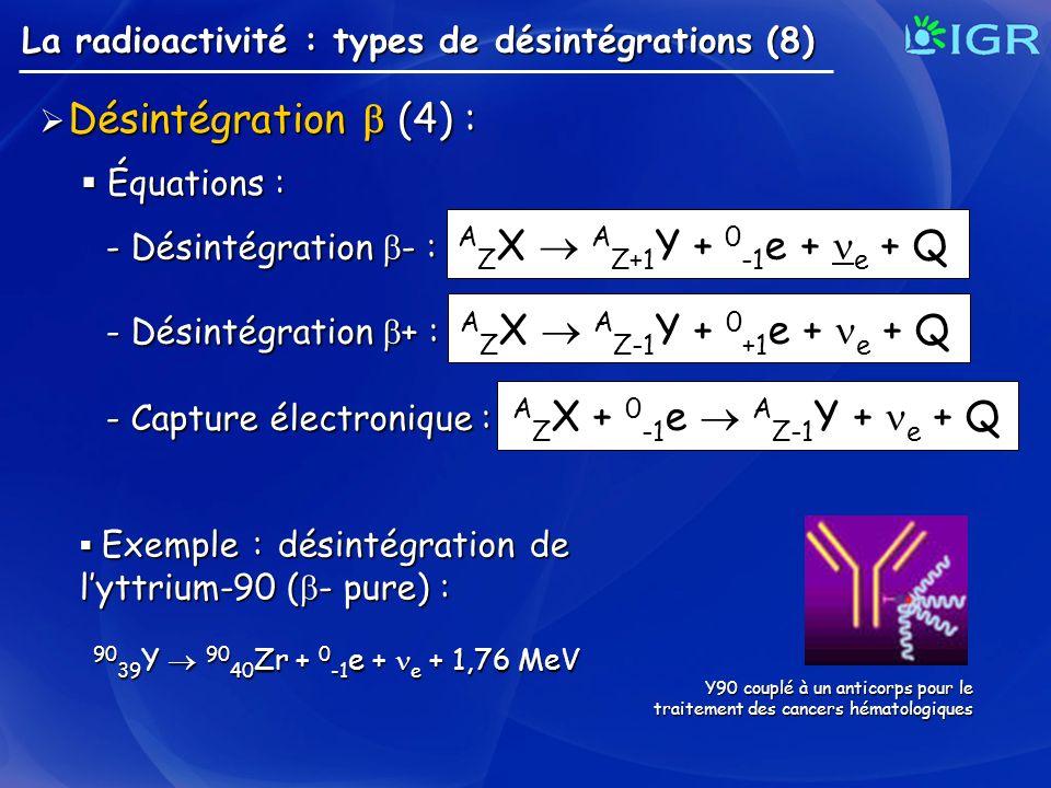 Désintégration (4) : Désintégration (4) : La radioactivité : types de désintégrations (8) Équations : Équations : - Désintégration - : A Z X A Z+1 Y +