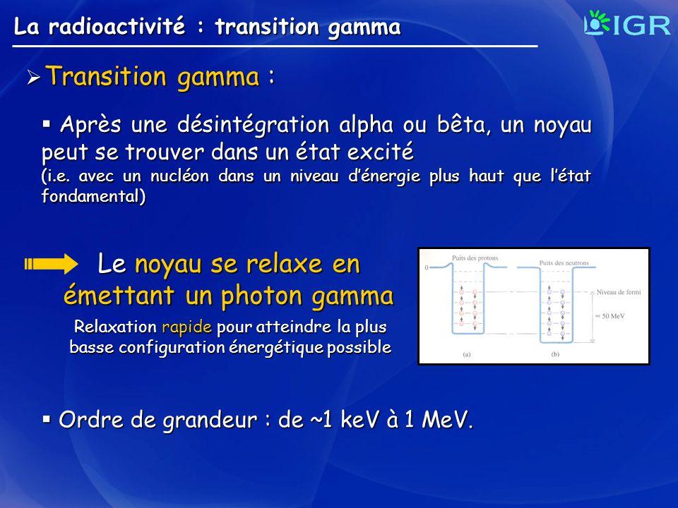 Transition gamma : Transition gamma : La radioactivité : transition gamma Après une désintégration alpha ou bêta, un noyau peut se trouver dans un éta
