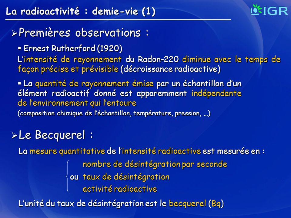 La radioactivité : demie-vie (1) Premières observations : Premières observations : Ernest Rutherford (1920) Ernest Rutherford (1920) Lintensité de ray