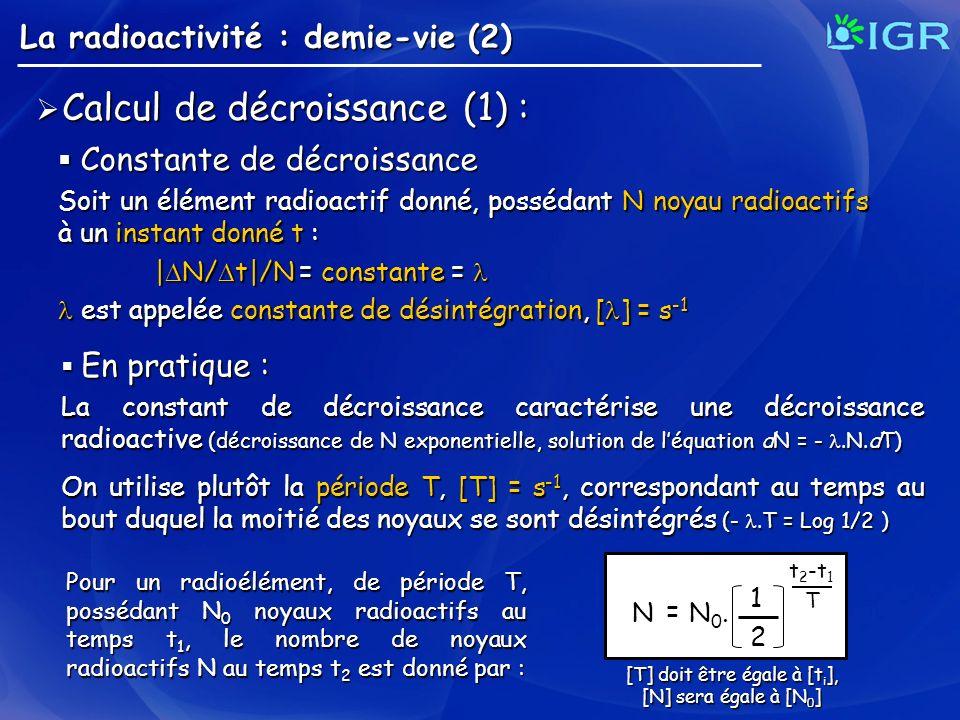 La radioactivité : demie-vie (2) Calcul de décroissance (1) : Calcul de décroissance (1) : Constante de décroissance Constante de décroissance Soit un