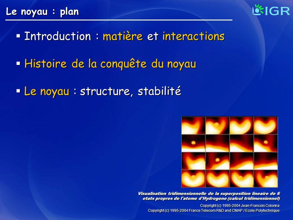 Le noyau : plan Introduction : matière et interactions Introduction : matière et interactions Histoire de la conquête du noyau Histoire de la conquête