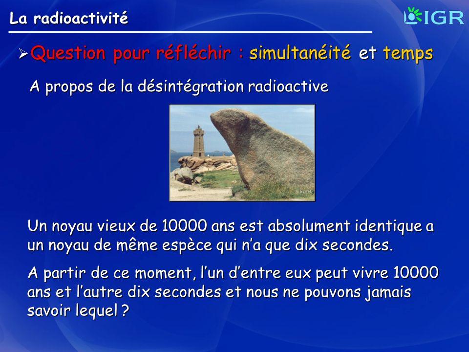 Question pour réfléchir : simultanéité et temps Question pour réfléchir : simultanéité et temps A propos de la désintégration radioactive La radioacti