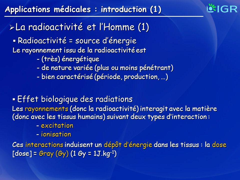Applications médicales : introduction (1) La radioactivité et lHomme (1) La radioactivité et lHomme (1) Radioactivité = source dénergie Radioactivité