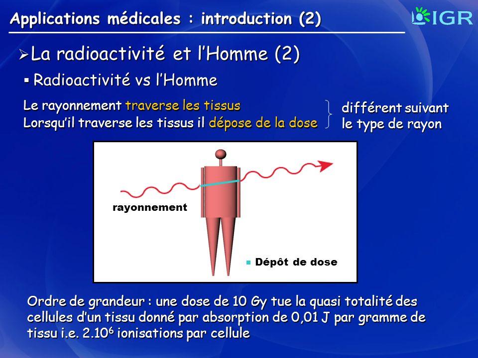 Ordre de grandeur : une dose de 10 Gy tue la quasi totalité des cellules dun tissu donné par absorption de 0,01 J par gramme de tissu i.e. 2.10 6 ioni