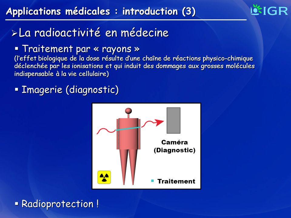 La radioactivité en médecine La radioactivité en médecine Applications médicales : introduction (3) Traitement Caméra(Diagnostic) Traitement par « ray