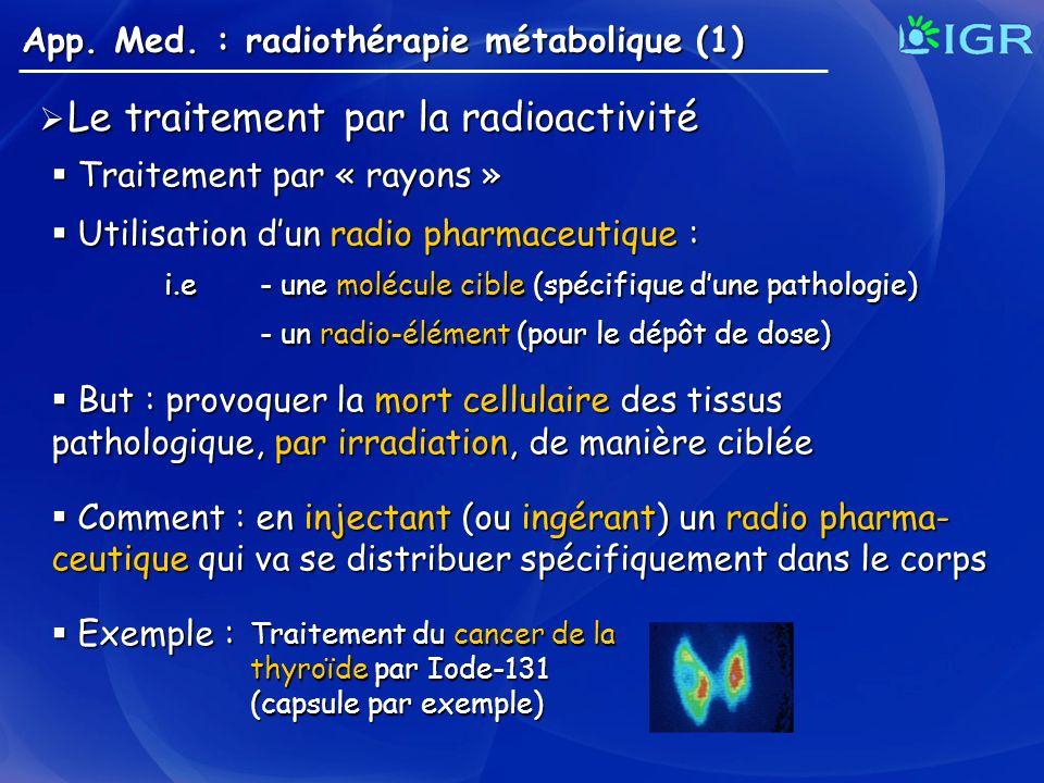 App. Med. : radiothérapie métabolique (1) Le traitement par la radioactivité Le traitement par la radioactivité Traitement par « rayons » Traitement p