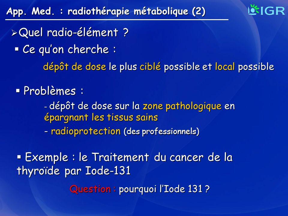 Quel radio-élément ? Quel radio-élément ? App. Med. : radiothérapie métabolique (2) Ce quon cherche : Ce quon cherche : dépôt de dose le plus ciblé po