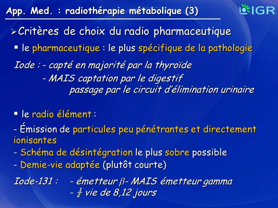 Critères de choix du radio pharmaceutique Critères de choix du radio pharmaceutique App. Med. : radiothérapie métabolique (3) le pharmaceutique : le p