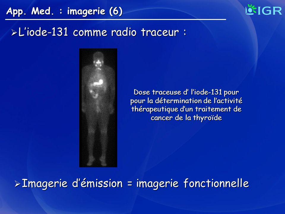 Liode-131 comme radio traceur : Liode-131 comme radio traceur : App. Med. : imagerie (6) Dose traceuse d liode-131 pour pour la détermination de lacti