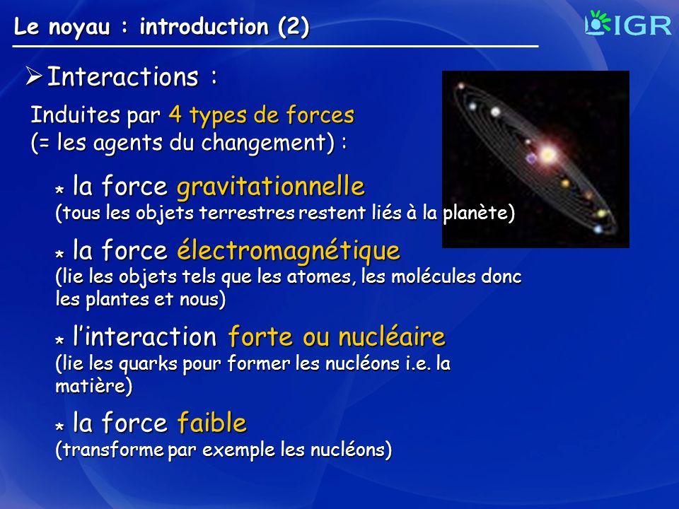 Le noyau : introduction (2) Interactions : Interactions : Induites par 4 types de forces (= les agents du changement) : * la force gravitationnelle (t