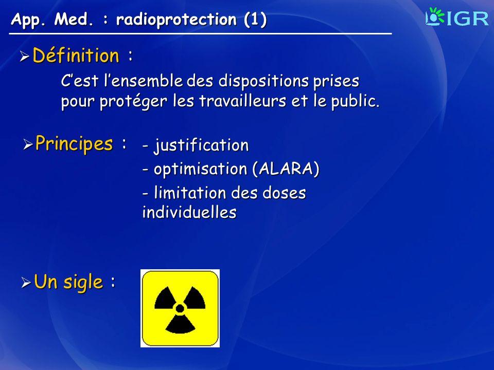 App. Med. : radioprotection (1) Cest lensemble des dispositions prises pour protéger les travailleurs et le public. Définition : Définition : Principe
