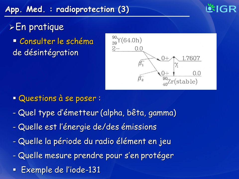 App. Med. : radioprotection (3) En pratique En pratique Consulter le schéma Consulter le schéma de désintégration Questions à se poser : Questions à s