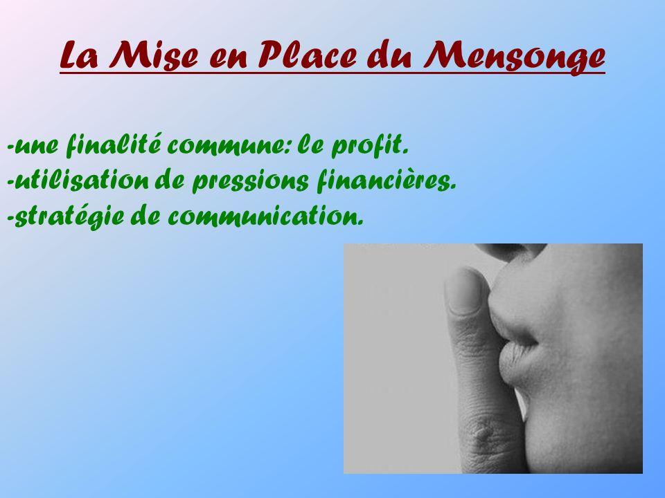 La Mise en Place du Mensonge -une finalité commune: le profit. -utilisation de pressions financières. -stratégie de communication.