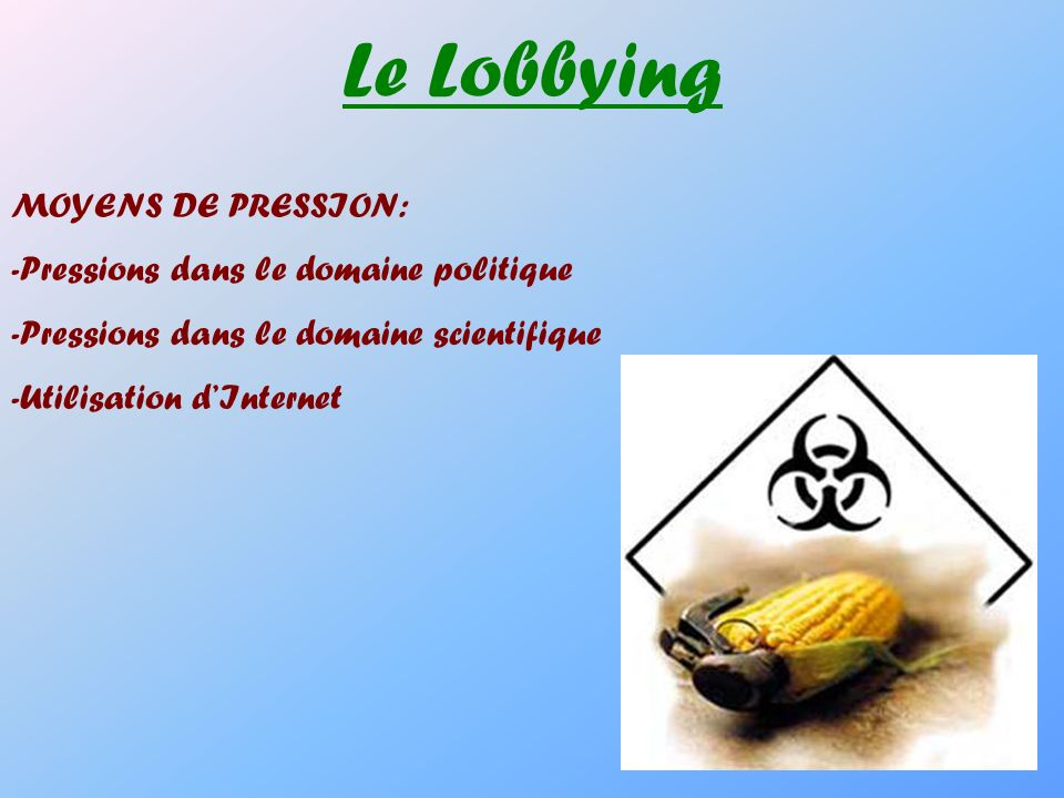 Le Lobbying MOYENS DE PRESSION: -Pressions dans le domaine politique -Pressions dans le domaine scientifique -Utilisation dInternet
