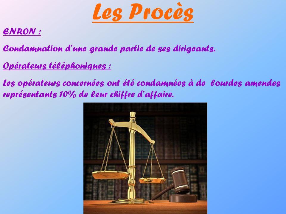 Les Procès ENRON : Condamnation dune grande partie de ses dirigeants. Opérateurs téléphoniques : Les opérateurs concernées ont été condamnées à de lou