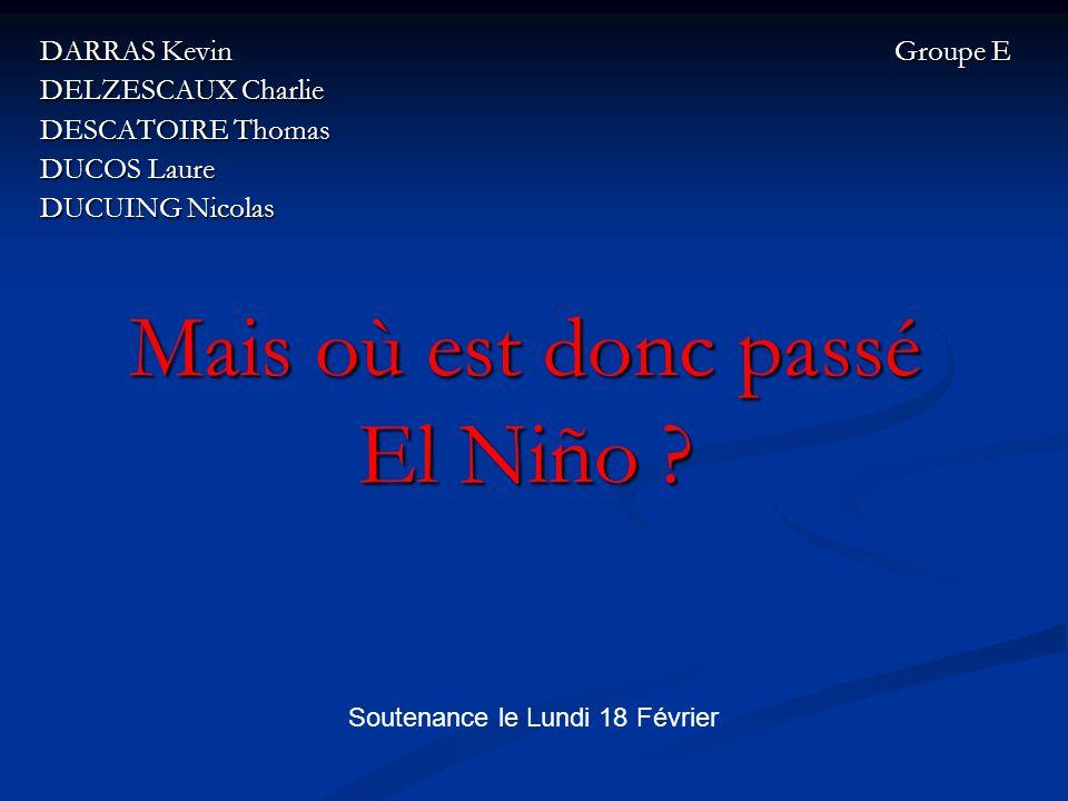 Plan de lexposé Introduction Introduction I – Que sait-on dEl Niño .