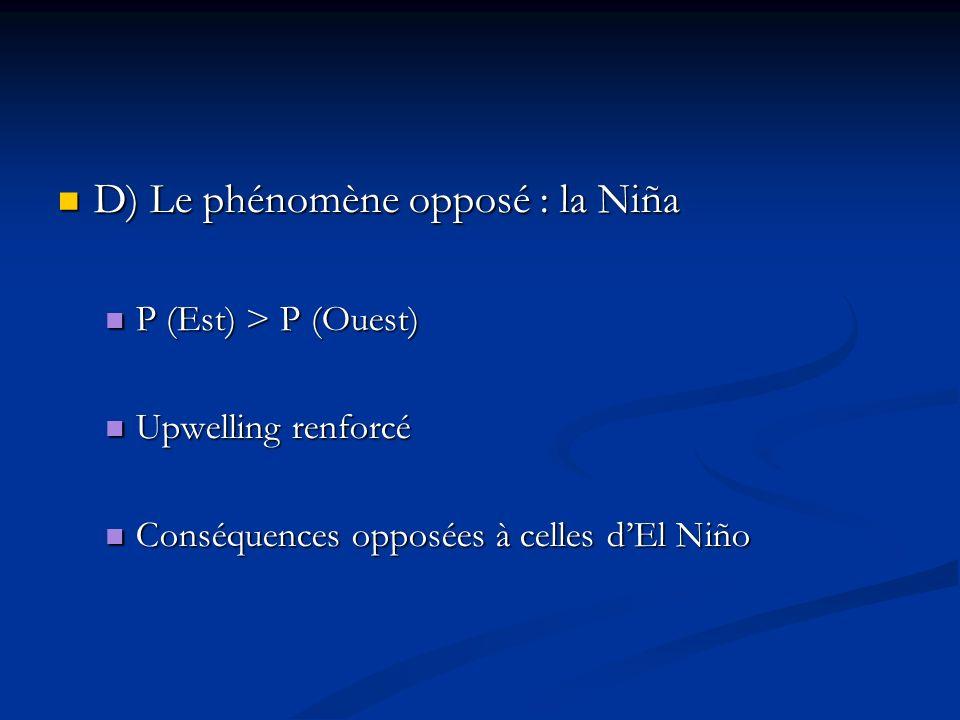 D) Le phénomène opposé : la Niña D) Le phénomène opposé : la Niña P (Est) > P (Ouest) P (Est) > P (Ouest) Upwelling renforcé Upwelling renforcé Conséq
