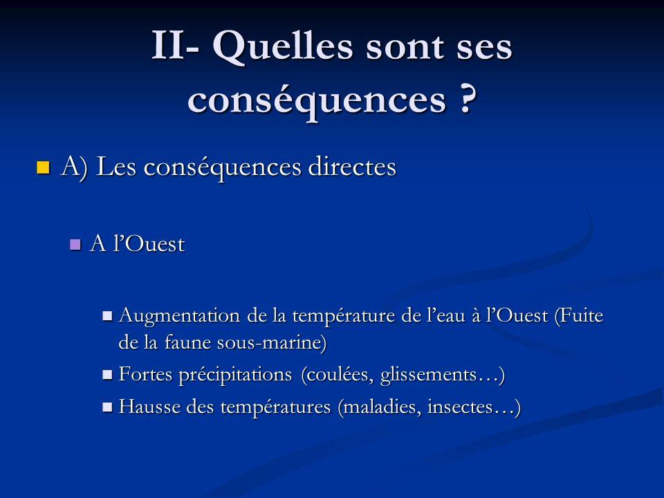 II- Quelles sont ses conséquences ? A) Les conséquences directes A) Les conséquences directes A lOuest A lOuest Augmentation de la température de leau
