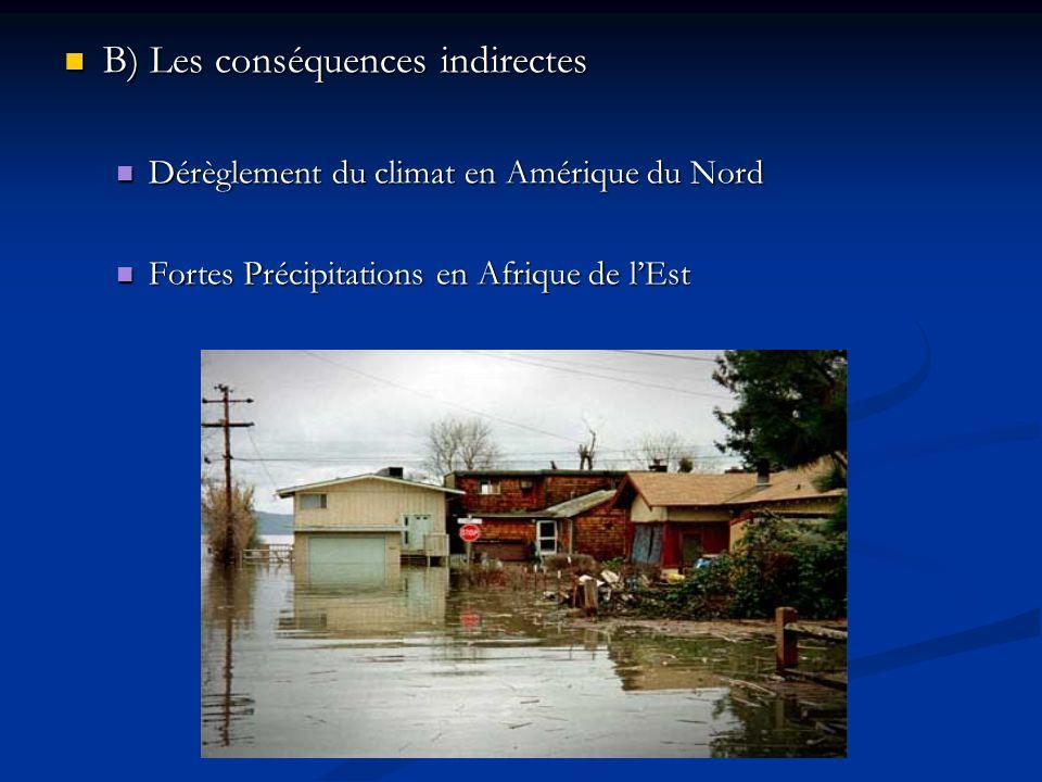 B) Les conséquences indirectes B) Les conséquences indirectes Dérèglement du climat en Amérique du Nord Dérèglement du climat en Amérique du Nord Fortes Précipitations en Afrique de lEst Fortes Précipitations en Afrique de lEst