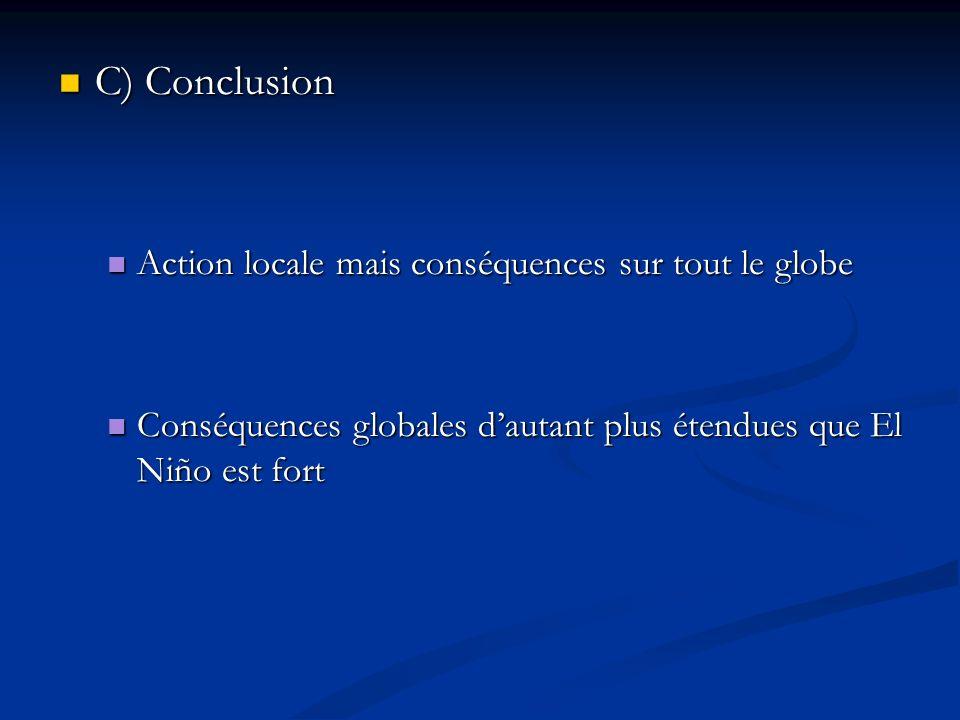 C) Conclusion C) Conclusion Action locale mais conséquences sur tout le globe Action locale mais conséquences sur tout le globe Conséquences globales