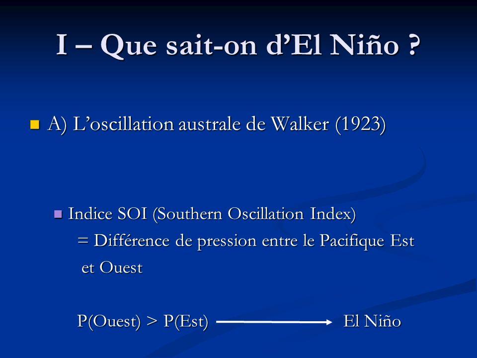 C) Conclusion C) Conclusion Action locale mais conséquences sur tout le globe Action locale mais conséquences sur tout le globe Conséquences globales dautant plus étendues que El Niño est fort Conséquences globales dautant plus étendues que El Niño est fort