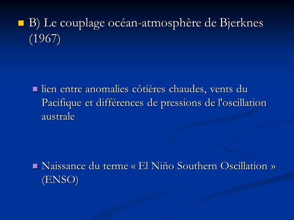 B) Le couplage océan-atmosphère de Bjerknes (1967) B) Le couplage océan-atmosphère de Bjerknes (1967) lien entre anomalies côtières chaudes, vents du