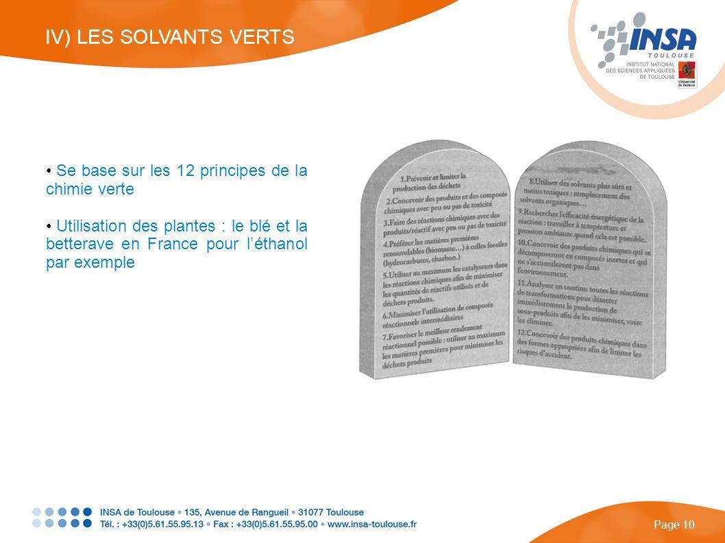 Se base sur les 12 principes de la chimie verte Utilisation des plantes : le blé et la betterave en France pour léthanol par exemple IV) LES SOLVANTS