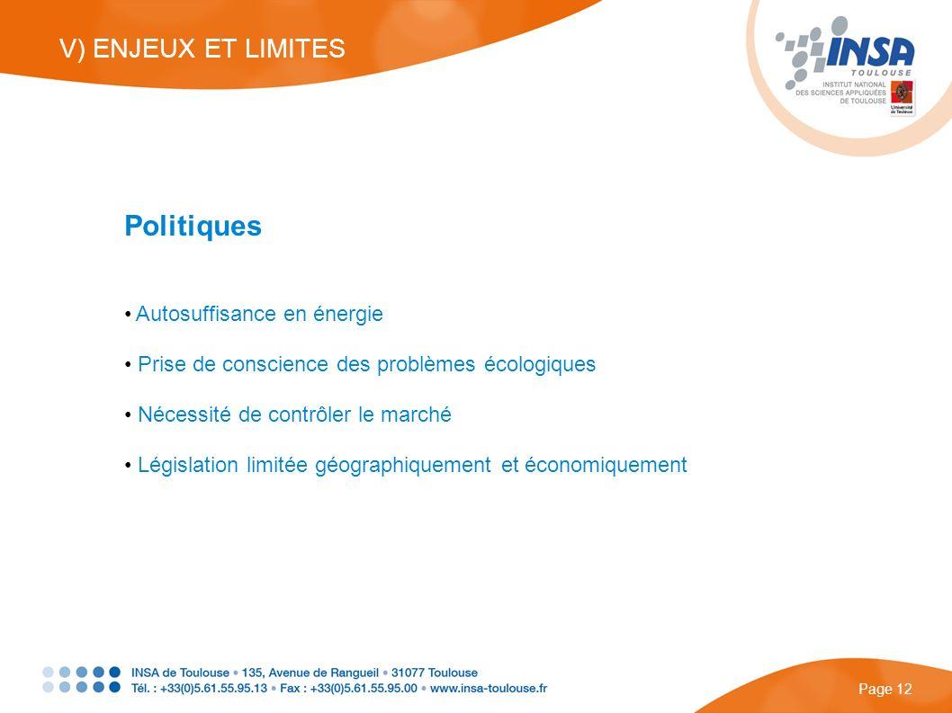Politiques Autosuffisance en énergie Prise de conscience des problèmes écologiques Nécessité de contrôler le marché Législation limitée géographiqueme