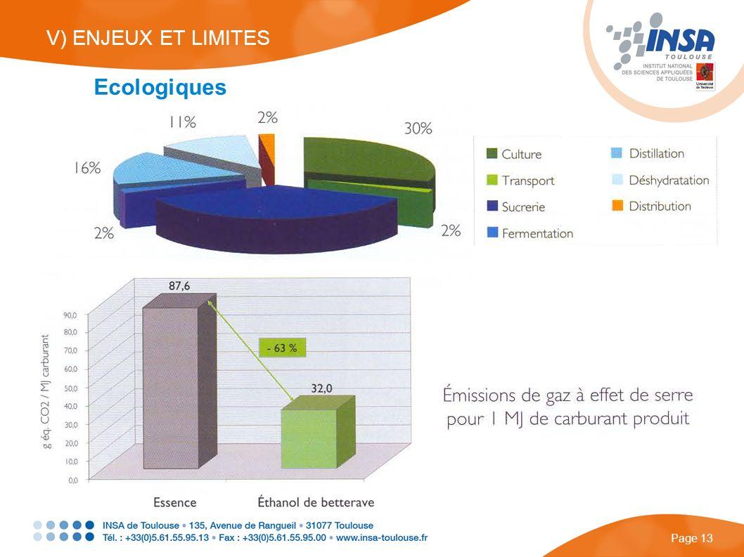 V) ENJEUX ET LIMITES Page 13 Ecologiques
