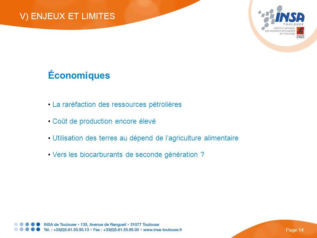 Économiques La raréfaction des ressources pétrolières Coût de production encore élevé Utilisation des terres au dépend de lagriculture alimentaire Ver