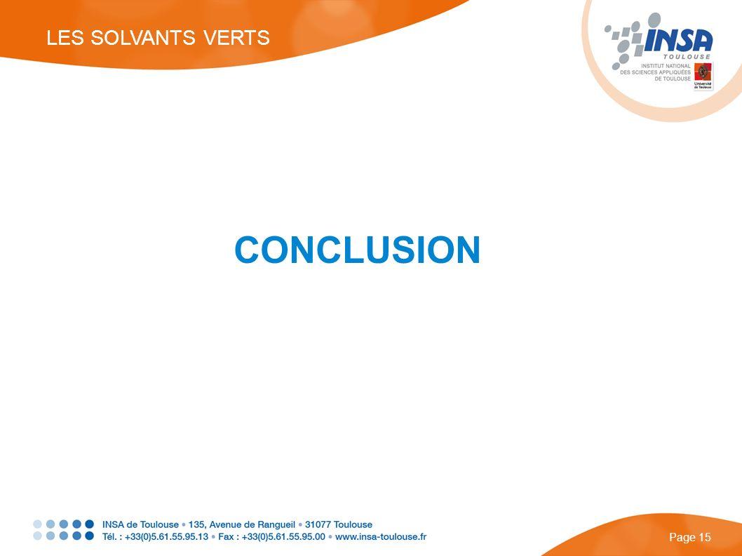CONCLUSION LES SOLVANTS VERTS Page 15