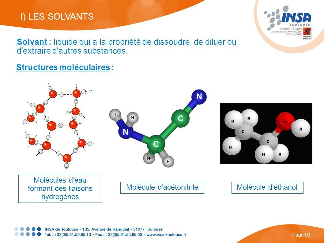 Page 03 Solvant : liquide qui a la propriété de dissoudre, de diluer ou d'extraire d'autres substances. Structures moléculaires : Molécules deau forma