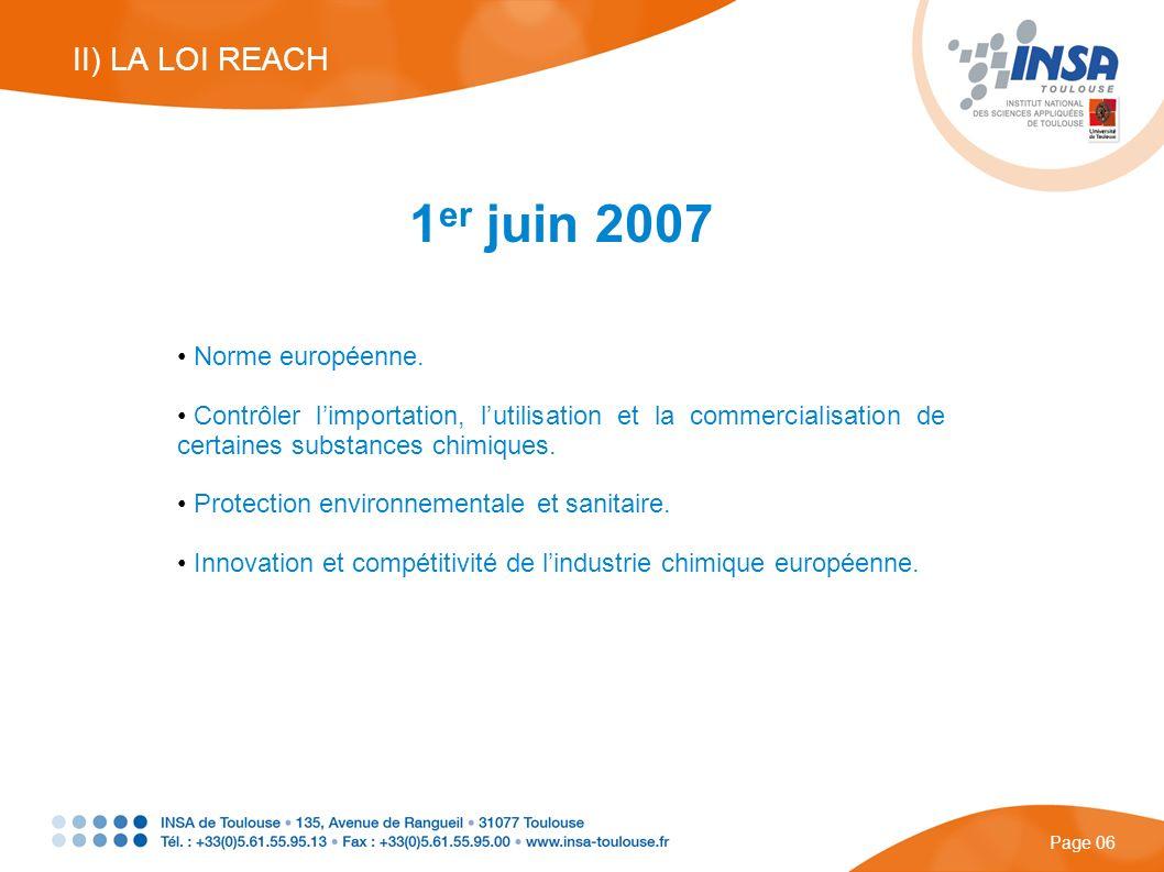 4 étapes : Enregistrement Evaluation Autorisation Restriction Page 07 II) LA LOI REACH Quelques exceptions : Espèces radioactives.