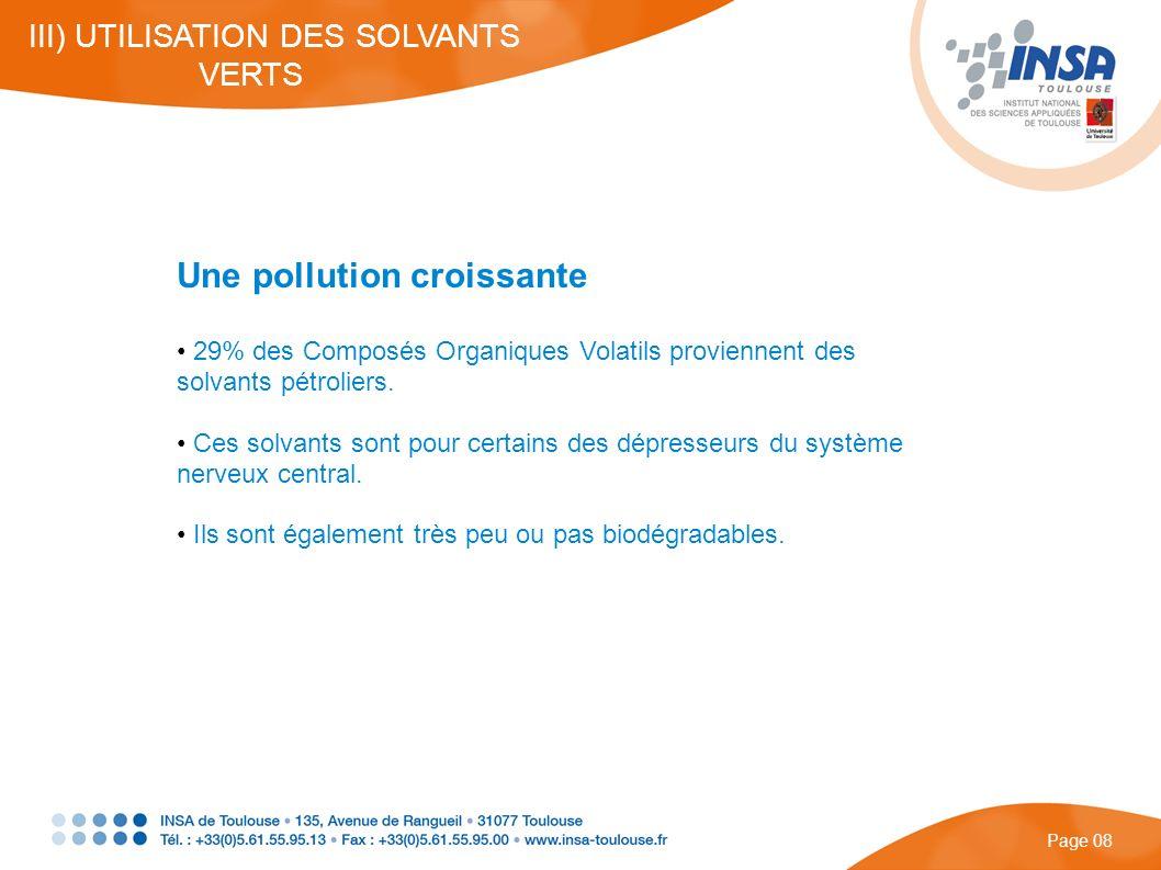 Une pollution croissante 29% des Composés Organiques Volatils proviennent des solvants pétroliers. Ces solvants sont pour certains des dépresseurs du