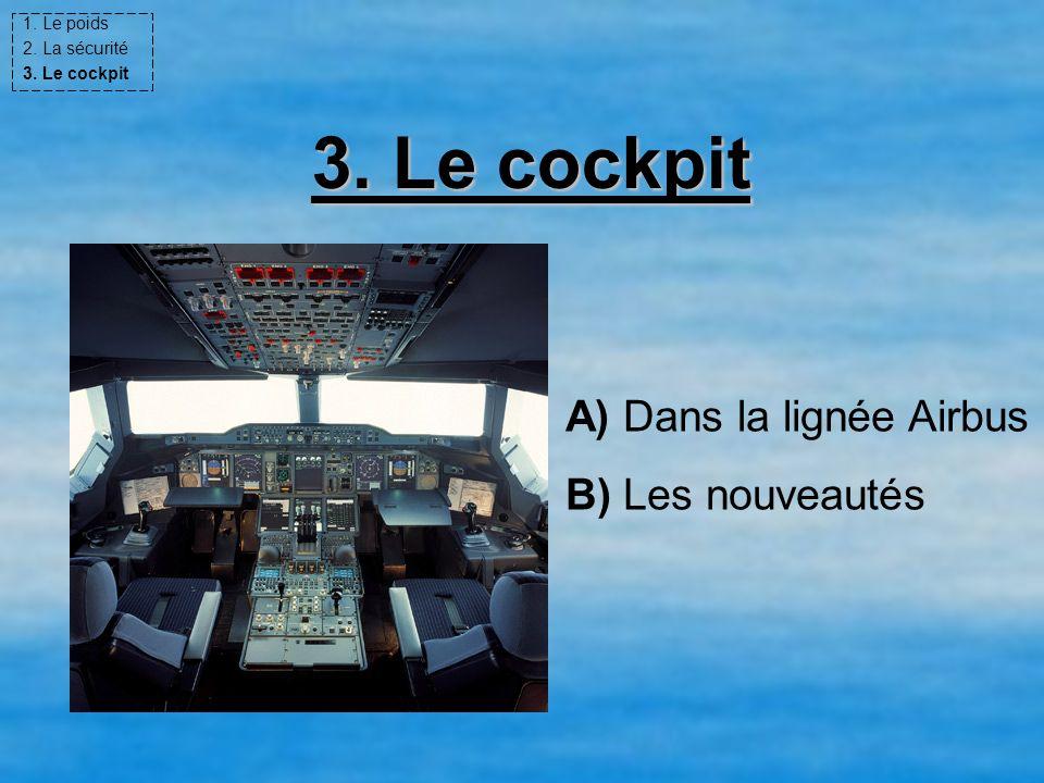 3. Le cockpit A) Dans la lignée Airbus B) Les nouveautés 1. Le poids 2. La sécurité 3. Le cockpit
