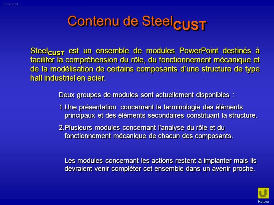 Contenu de Steel CUST Steel CUST est un ensemble de modules PowerPoint destinés à faciliter la compréhension du rôle, du fonctionnement mécanique et d