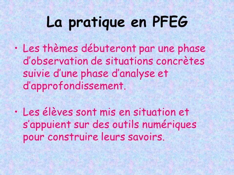 La pratique en PFEG Les thèmes débuteront par une phase dobservation de situations concrètes suivie dune phase danalyse et dapprofondissement. Les élè