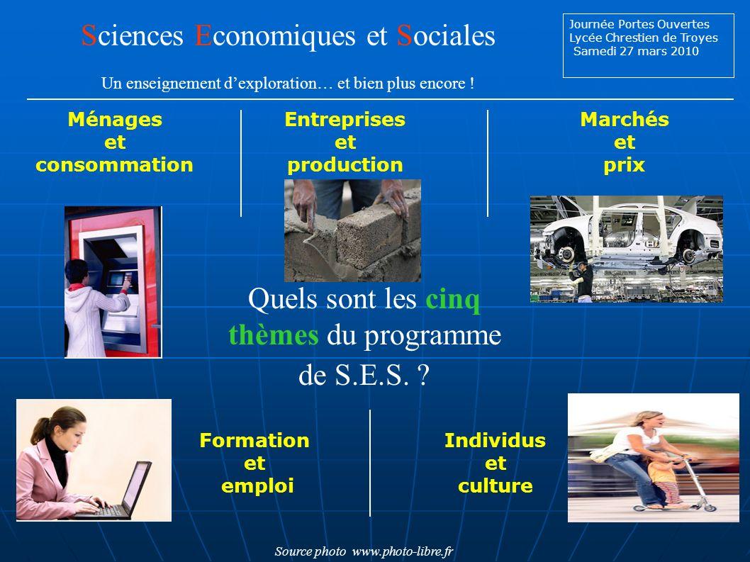 Journée Portes Ouvertes Lycée Chrestien de Troyes Samedi 27 mars 2010 Quels sont les cinq thèmes du programme de S.E.S.