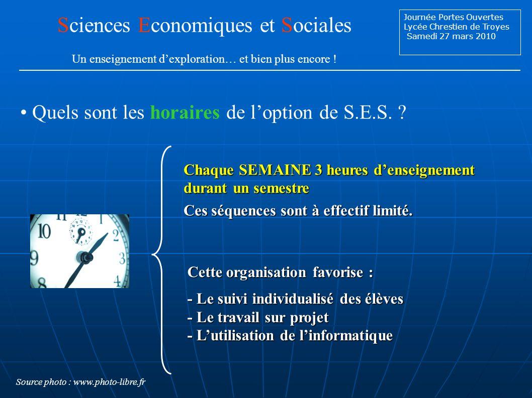 Journée Portes Ouvertes Lycée Chrestien de Troyes Samedi 27 mars 2010 Quels sont les horaires de loption de S.E.S.