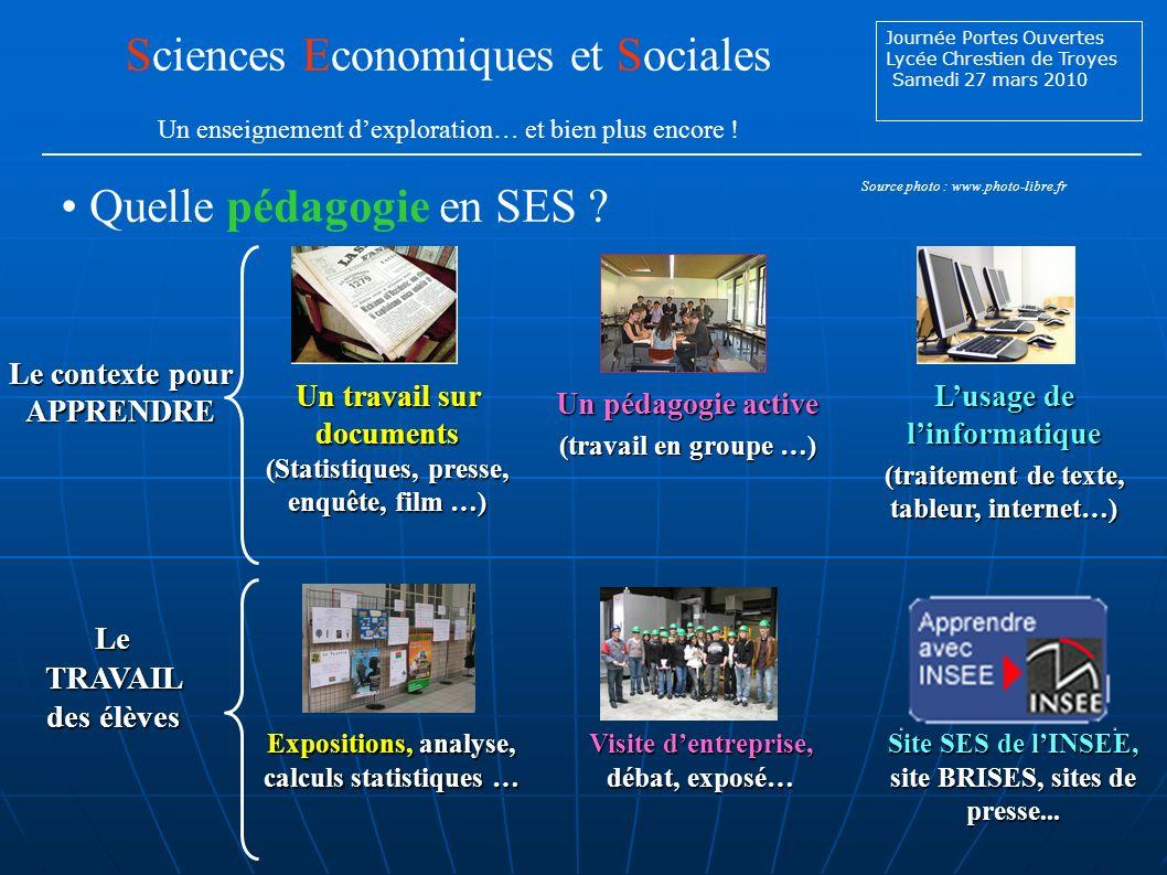 Journée Portes Ouvertes Lycée Chrestien de Troyes Samedi 27 mars 2010 Quelle pédagogie en SES .
