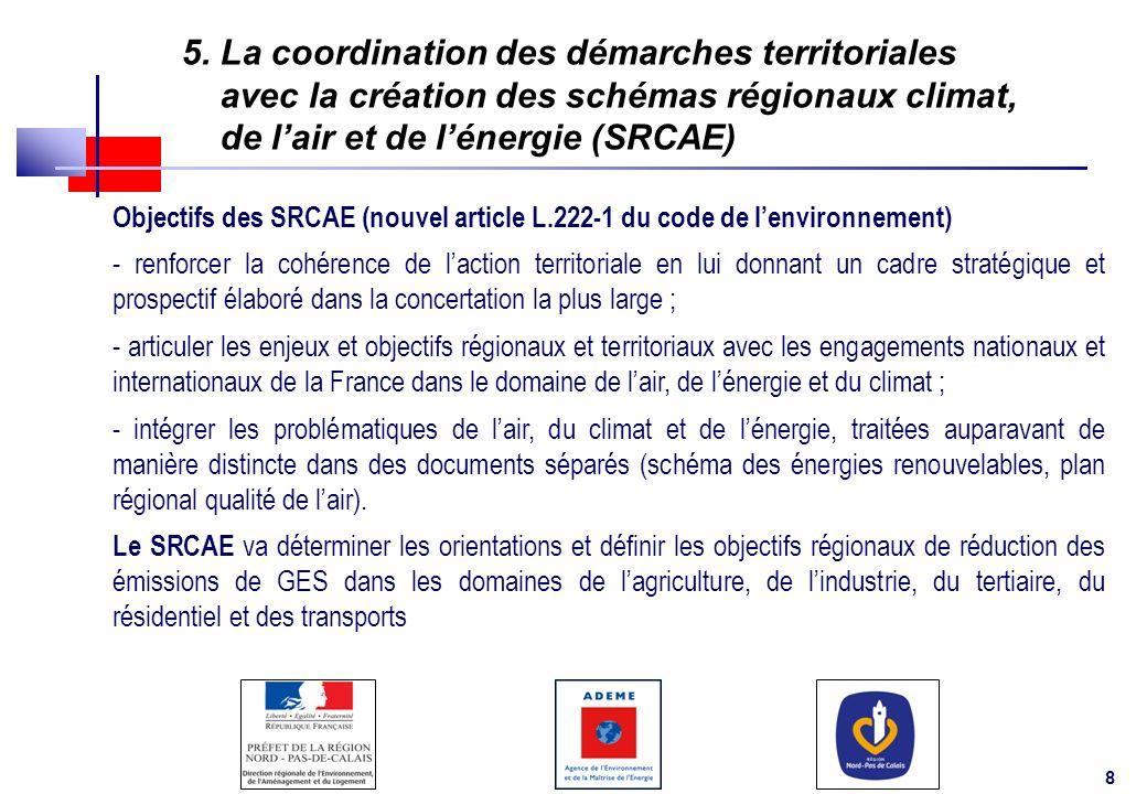 8 5. La coordination des démarches territoriales avec la création des schémas régionaux climat, de lair et de lénergie (SRCAE) Objectifs des SRCAE (no